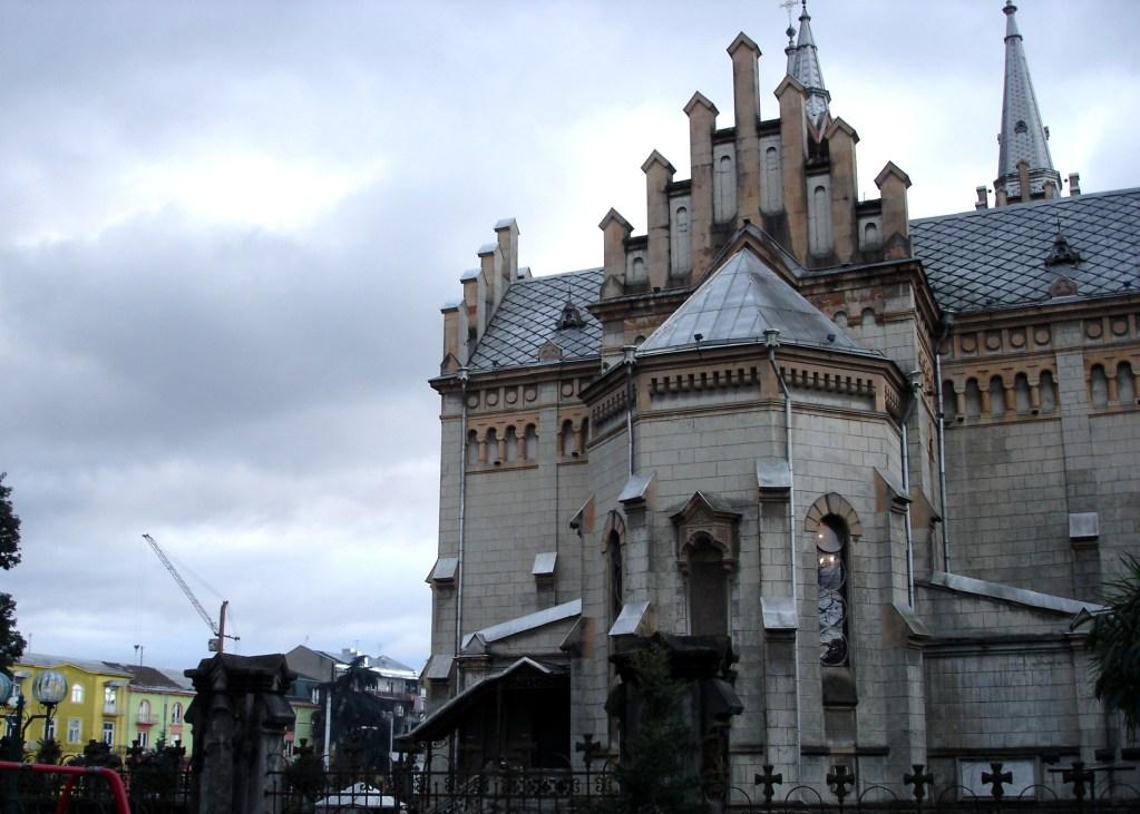 Orthodox Church of Batumi port crane in the background