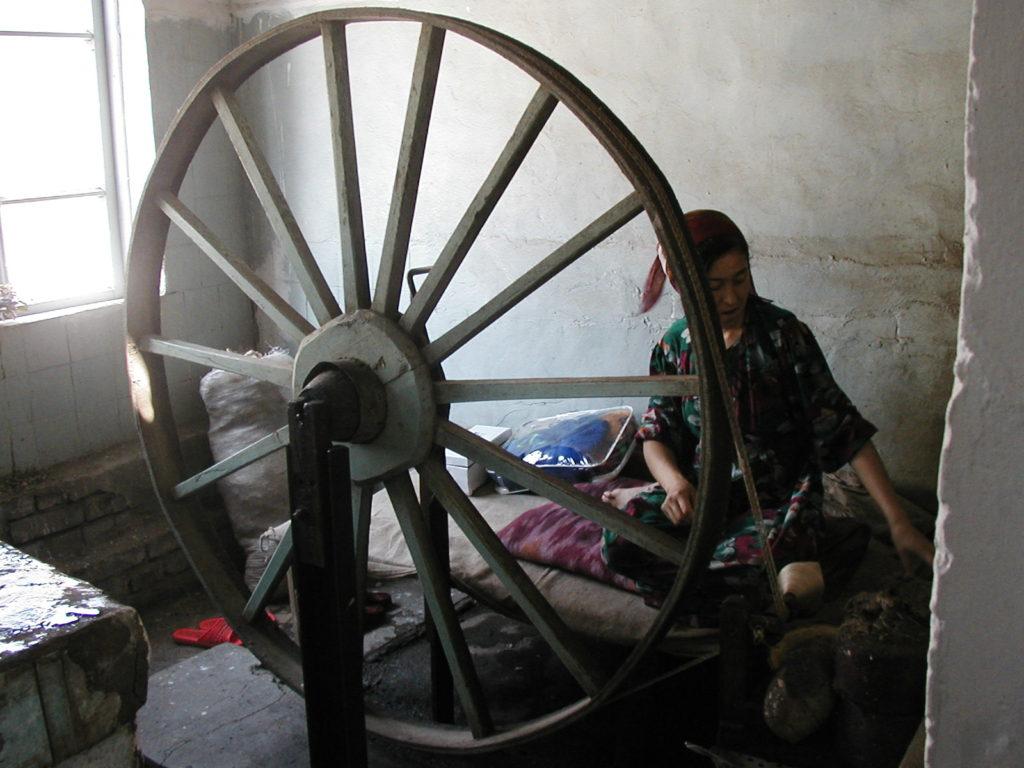 margilan silk factory worker uzbekistan