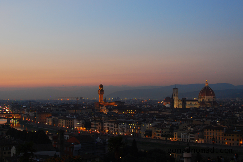 View over Florence in the evening