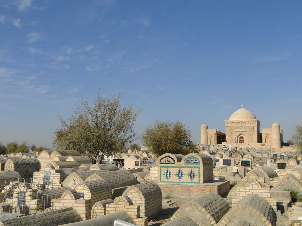 Of course where live goes on so must death. Several kilometers outside of Bukhara, the Bakhautdin Naqshband Mausoleum is an important Sufi shrine surrounded by a large cemetery.
