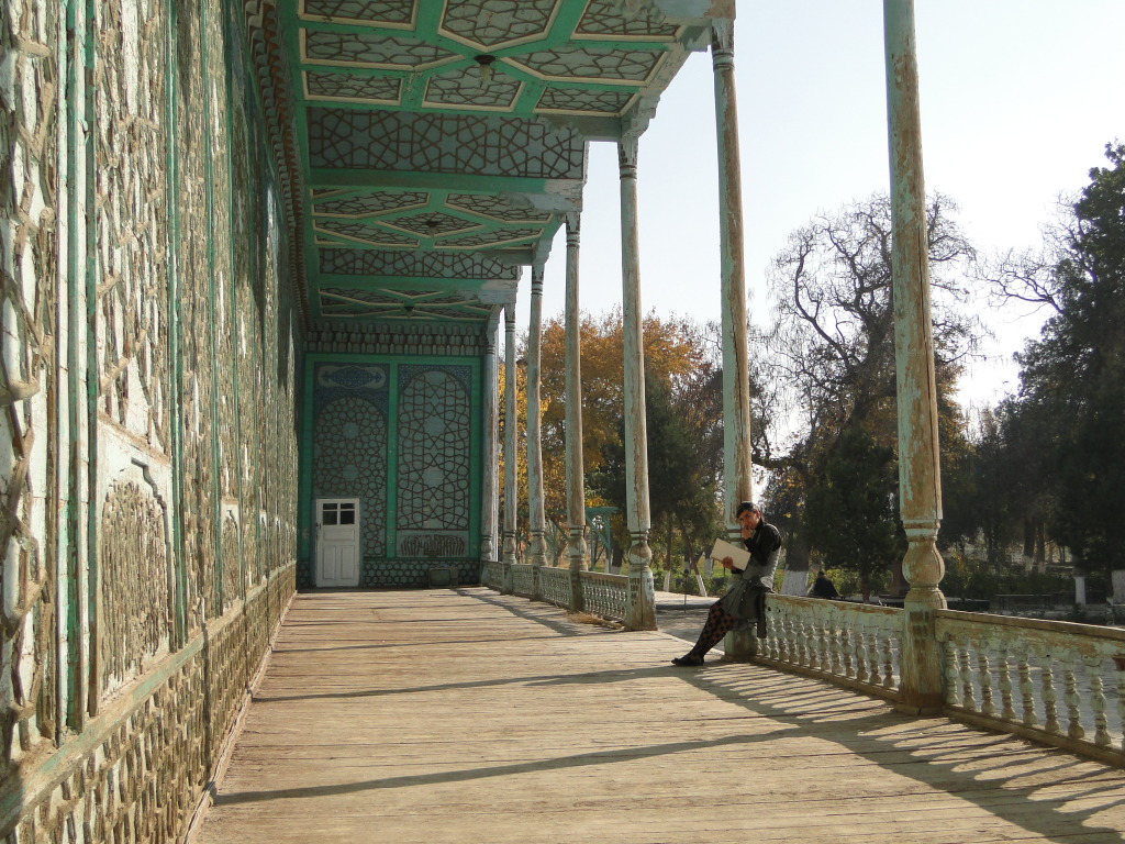 Or here, a local student reviews schoolwork on the porch of the former Emir's Summer Palace just outside of town.