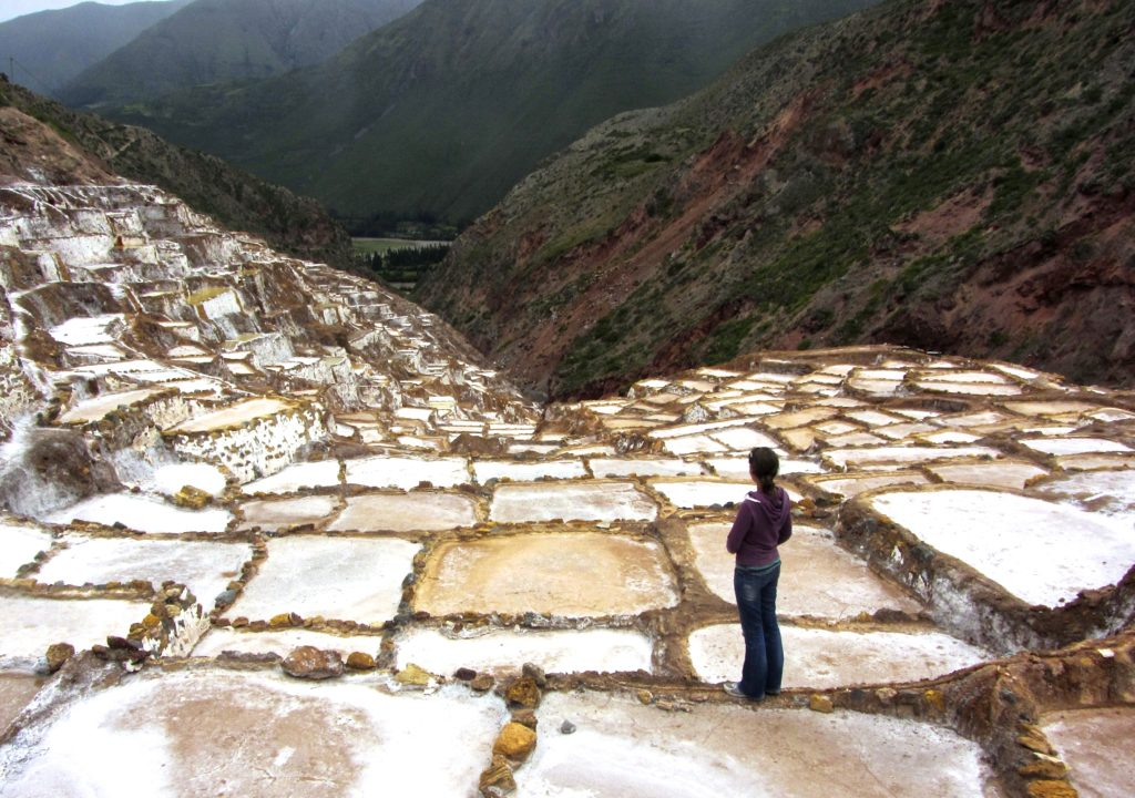 Looking out over ancient salt mines in Maras.