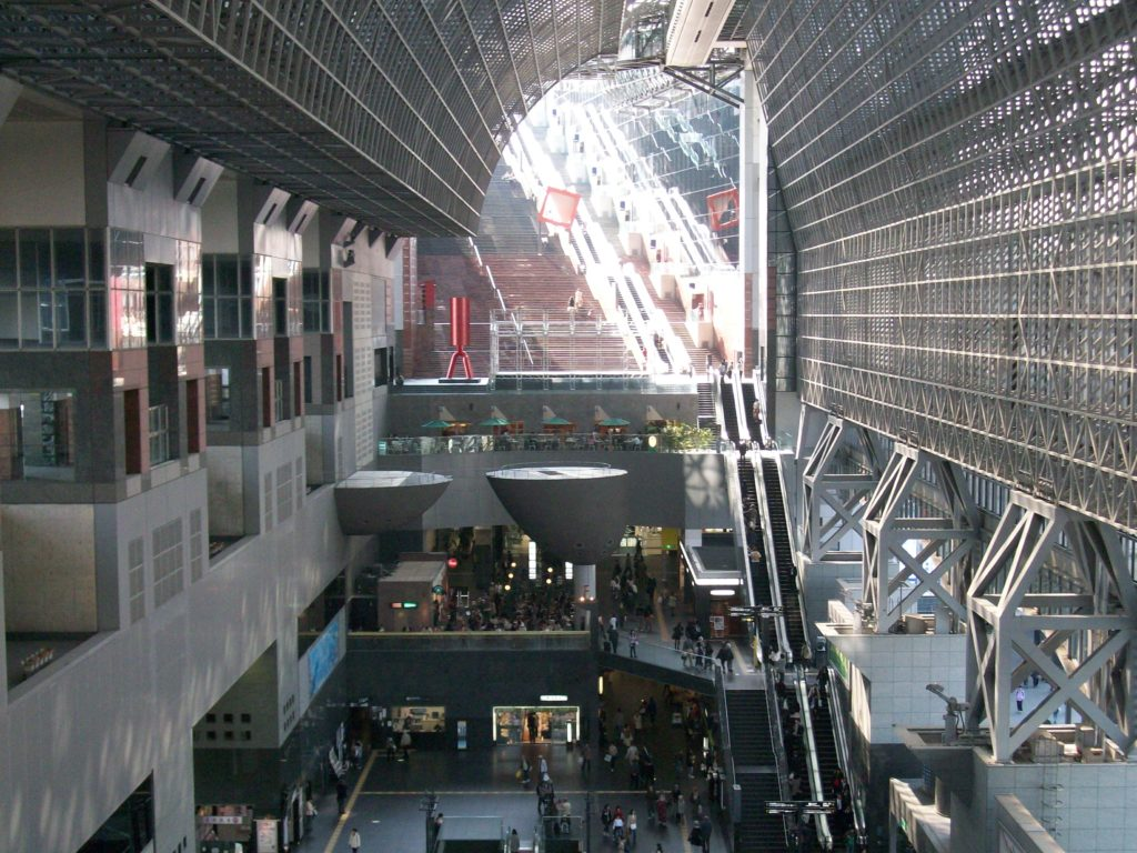Inside Kyoto's train station.