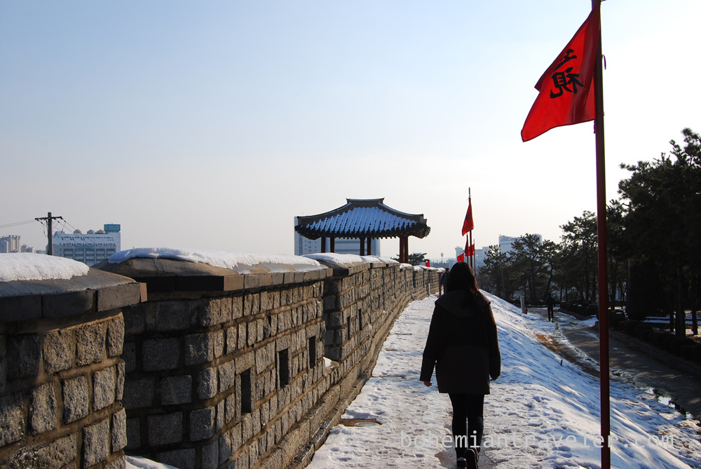 Walking along Hwaseong Fortress in Suwon close to sunset.