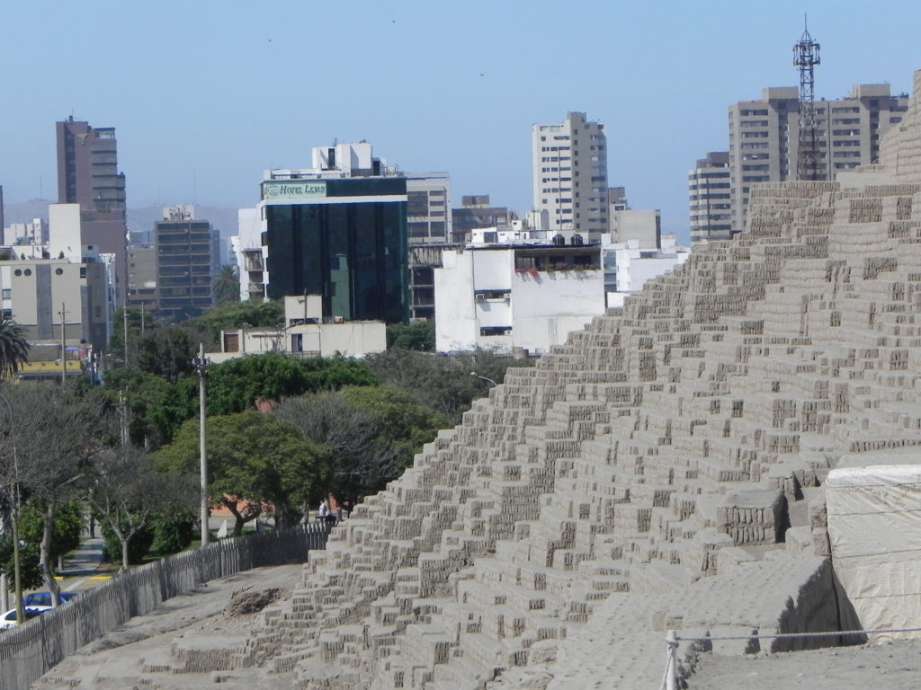 The Huaca Pucllana, a pyramid dating back to pre-Inca times, sits right in the middle of Lima's business district.