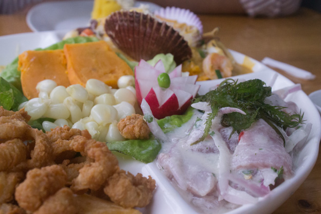 A delicious seafood feast with fried calamari and ceviche.