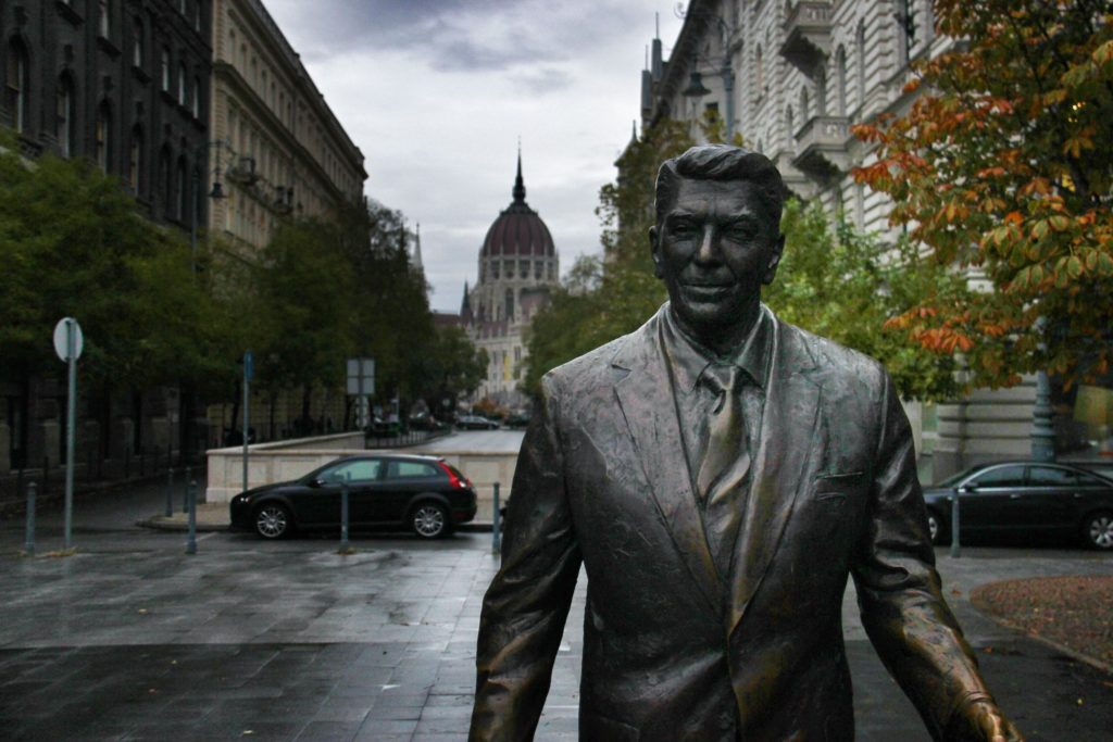 A statue of Ronald Reagan stands in Freedom Square, a monument to defeating communism.