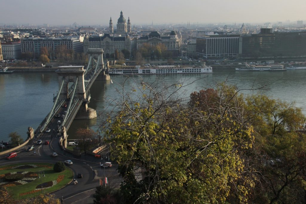 The view from up here: looking down at the Danube from Buda Castle.