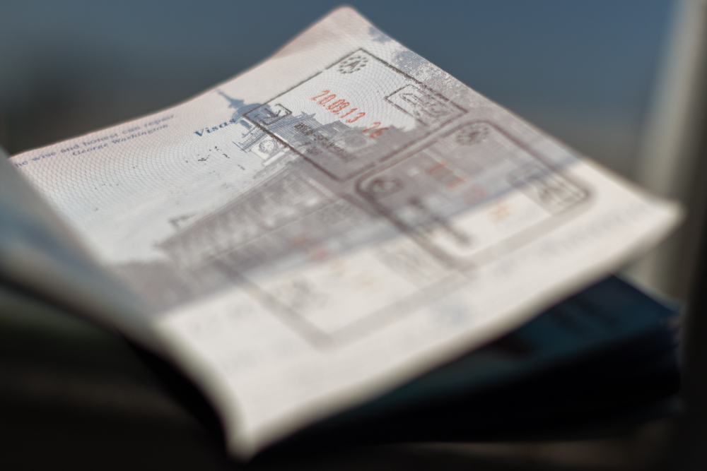 Schengen zone passport stamps
