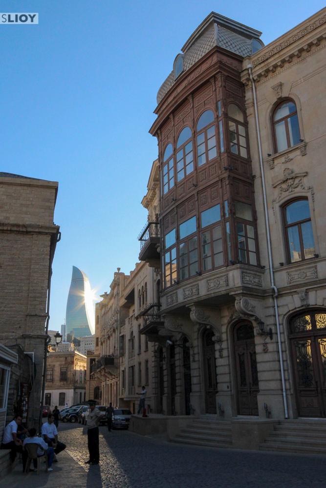 baku old town and skyscrapers