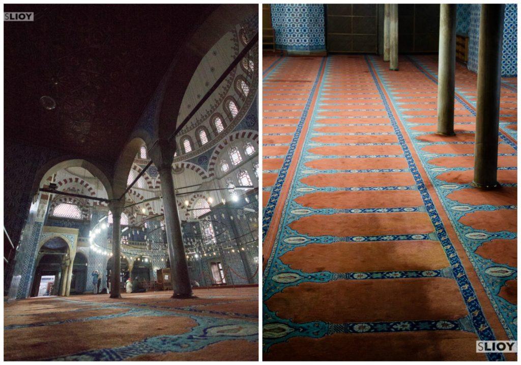 Inside Rustem Pasha Mosque in Istanbul