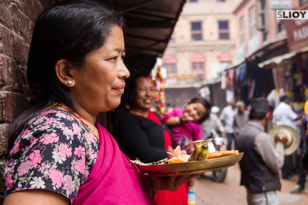 Making an offering at the Bisket Jatra festival in Bhaktapur.