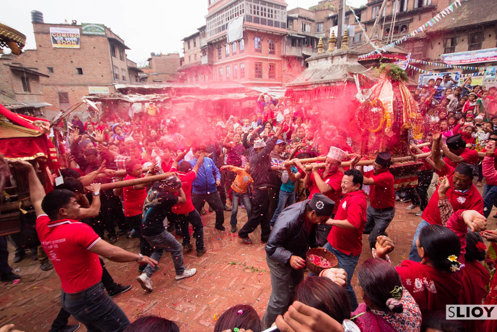 Crashing of shrines during Bisket Jatra festival.
