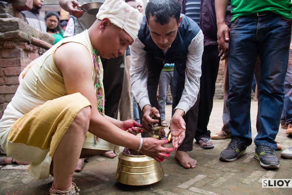 Preparing for tongue piercing in Bode as part of the Bisket Jatra festival in Bhaktapur.