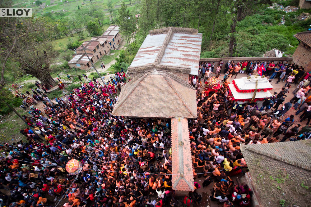 Pancho Ganesh temple in Bode, where the Bisket Jatra tongue piercing ceremony takes place.