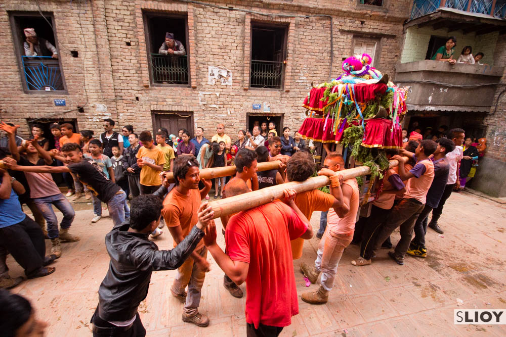 Shrine procession in Bode during Bisket Jatra.