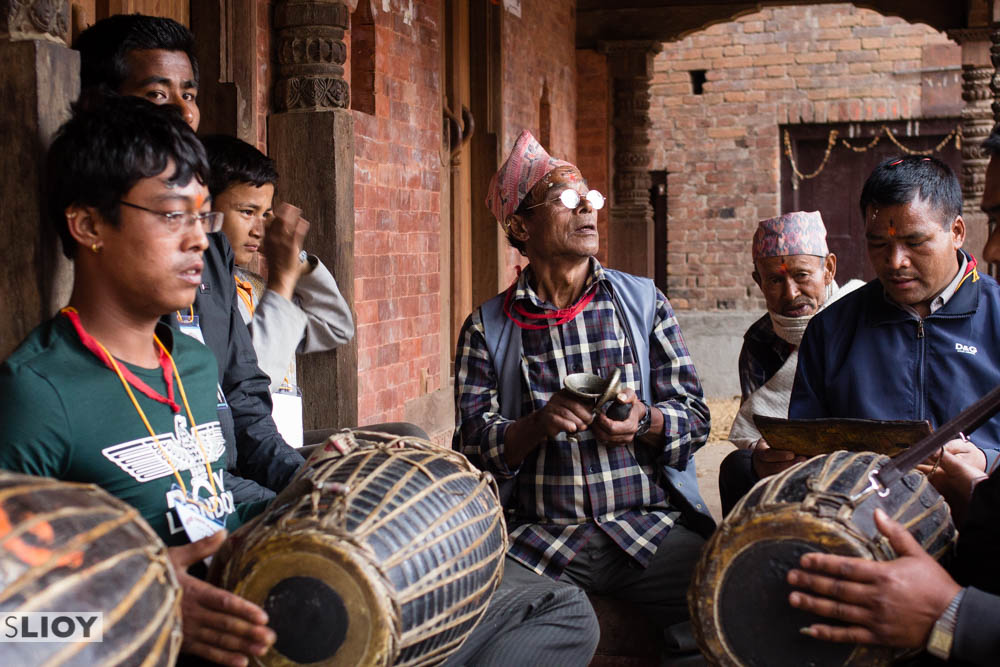 Drumming and singing at Bisket Jatra 2015 in Bhaktapur, Nepal.