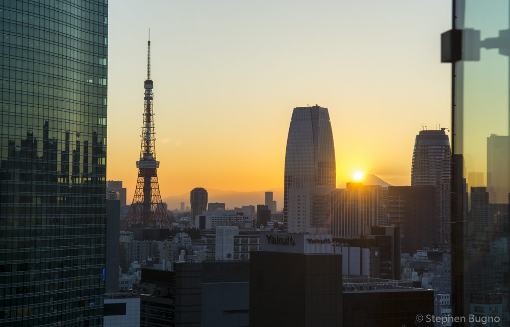 View of Mt Fuji and Tokyo Tower at Sunset