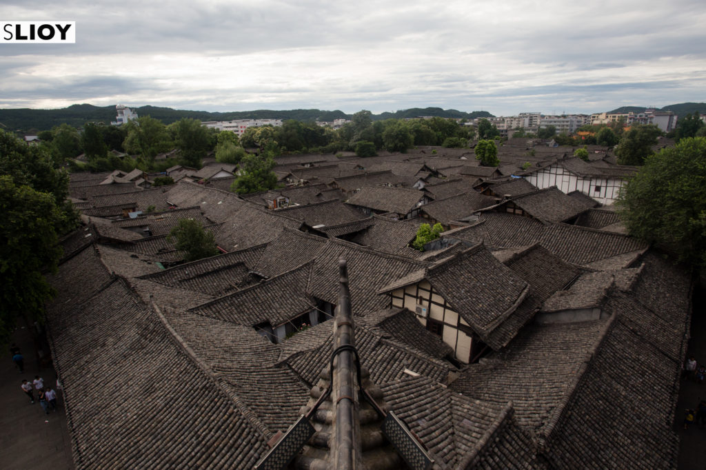 Slate rooftops of Old Town Langzhong in Sichuan China Travel Costs in Sichuan China