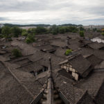 Slate rooftops of Old Town Langzhong in Sichuan China