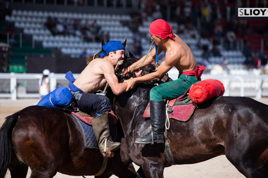 Horse Wrestling (Er Enish) at World Nomad Games 2016 in Kyrgyzstan.