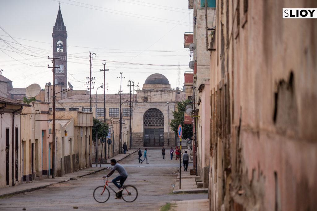Italian Market and Cathedral in Asmara, Eritrea.
