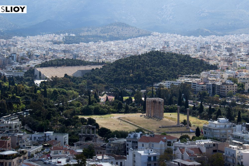 Temple of Olympian Zeus as seen from the Athens Acropolis