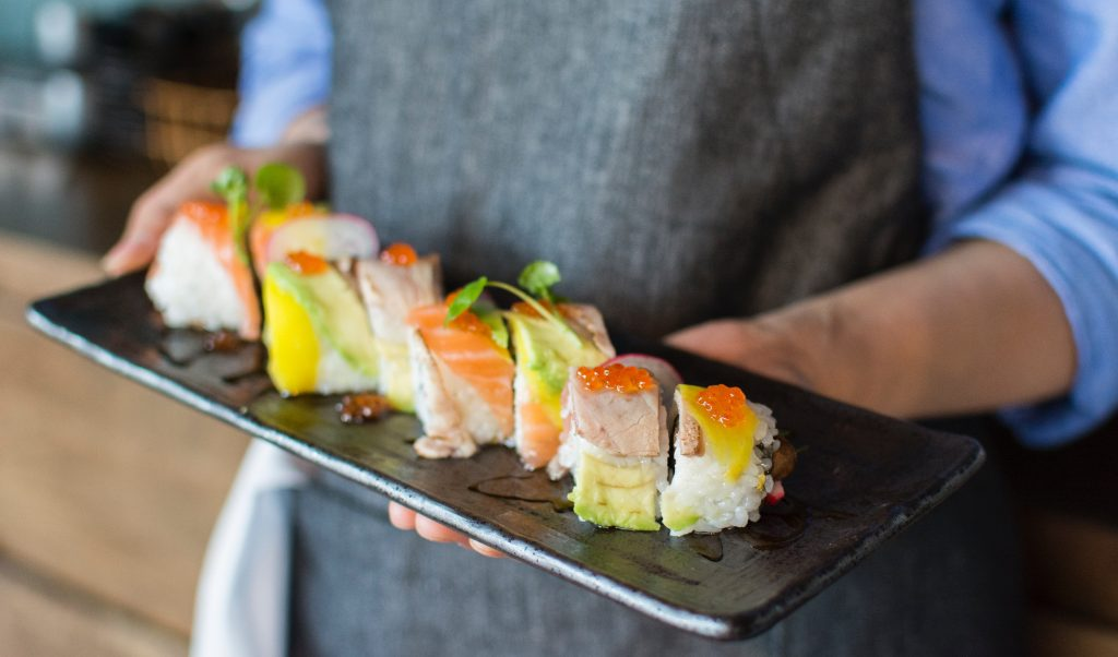 sushi served at restaurant